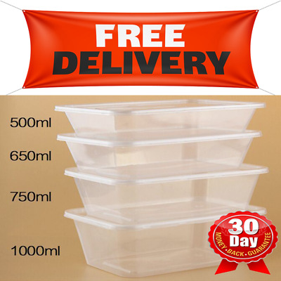 TAKE AWAY CONTAINERS & LIDS DISPOSABLE PLASTIC FOOD CONTAINER 500,650,750,1000ml