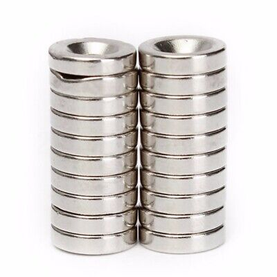 20* Very Strong Ring Round Magnets Disc Hole N50 Rare Earth Neodymium Craft*UK~