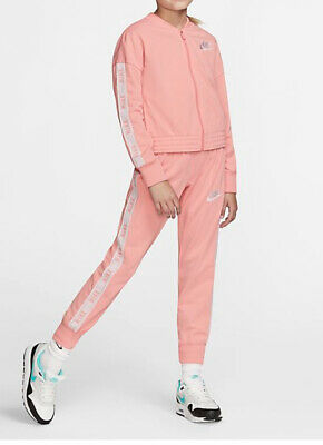 Nike Tracksuit Girls XL Age 13-15 Years Pink Bleached Coral Girls Tracksuit