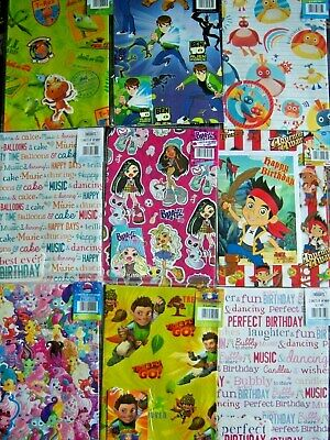 Kids Children Teens Gift Wrapping Paper Sheets Tags  Girls Boys Novelty Designs