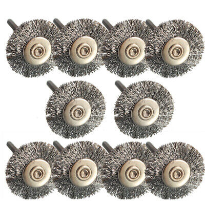 10pcs Rotary Tools Steel Wire Wheel Brush Rust Paint Removal Drills Grinder*