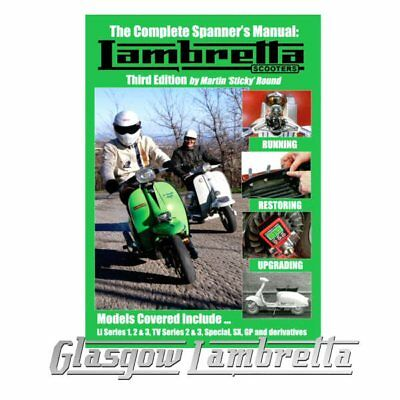 Sticky LAMBRETTA SCOOTERS COMPLETE SPANNER'S MANUAL New 3rd Edition + stickers