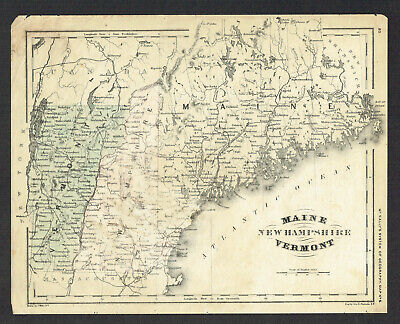 Maine~New Hampshire~Vermont 1860 Map~McNally's System of Geography~Hand Colored