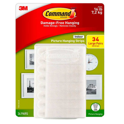 3M Command Damage-Free Large Picture Hanging Strips,34Pairs/68Strips, Holds 16lb