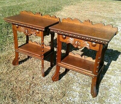 Antique Pair Victorian Foyer Tables Solid Tiger Oak w Applied Carving