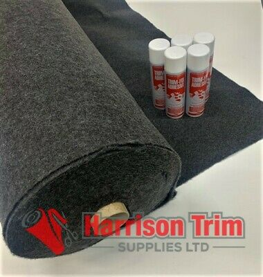 20 sqm EASYLINER ANTHRACITE(4 WAY STRETCH) CAMPA VAN LINING CARPET + 10 TRIMFIX