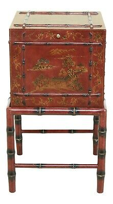 F31727EC: Chinoiserie Decorated Flip Top 2 Piece Box On Stand
