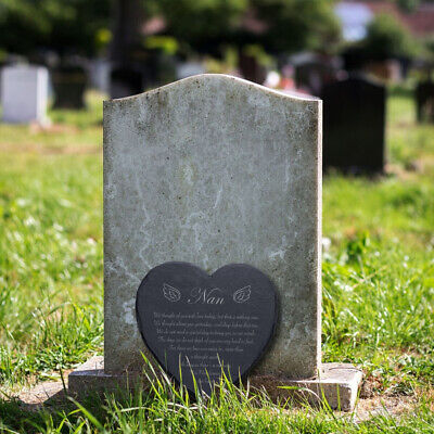 Slate 25cm Heart Engraved Memorial Plaque Grave Mum Dad Family Personalised Name