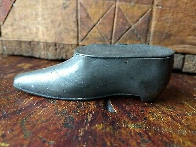 19Th Century Pewter Shoe Snuff Box