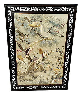 Antique Framed Chinese Embroidered Silk Panel Wall Hanging Embroidery China Art