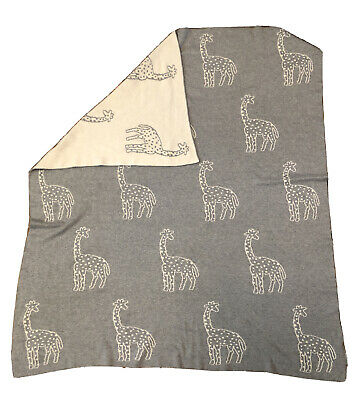Frolics Kids Collection Cotton Throw Blanket Ivory//Lambs Gray Reversible