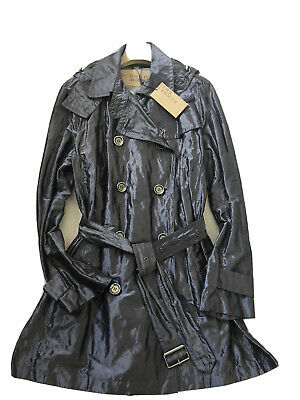 NWT Burberry Brit Hooded Trench Coat Womens SZ 16 Metallic Silver Blue Jacket