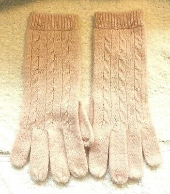 Soft Pink Cable Knit Womens Gloves Size Womens Med/Lrg Wool Angora