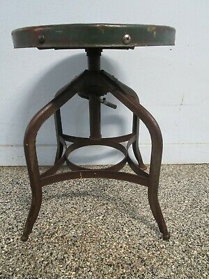 Antique Vintage  Toledo Industrial Stool Chair Adjustable Swivel Steampunk