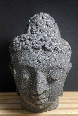 Chinese Antique Stone Head Of Buddha Java, Indonesia, 9Th Century