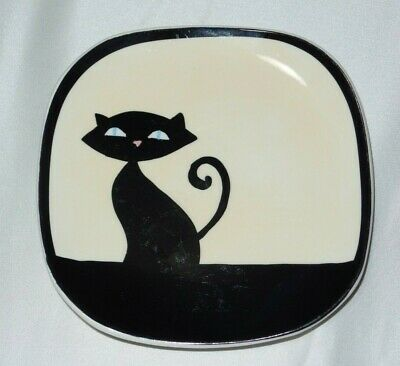 Hues N Brews Black Cream Siamese Cat Saucer Only Small Chip