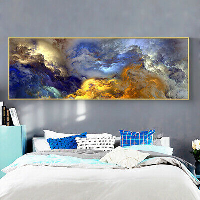 Abstract Colors Unreal Canvas Poster Blue Landscape Wall Art Painting Living