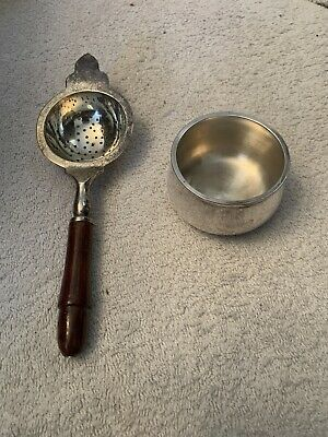 Vintage Silver plated tea strainer (absinthe) with drip bowl