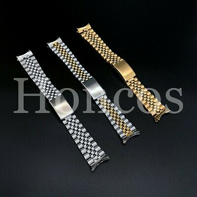 13 - 20mm Stainless Steel Curved End Jubilee Watch Band Bracelet Fits Rolex 2020