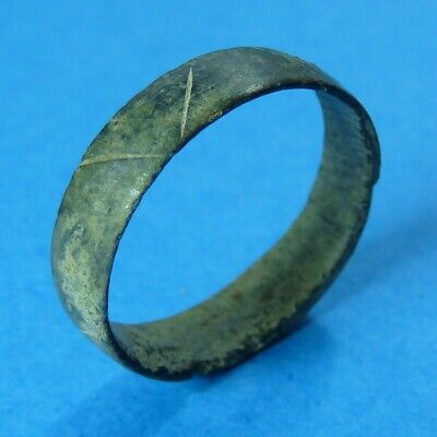 Antique Medieval Pirate Times Bronze Ring Old Ancient With Handmade Marks