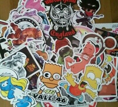 100 MIXED SKATEBOARD TOOLBOX LAPTOP STICKERS Music, Acdc, Simpsons Free Aus Post