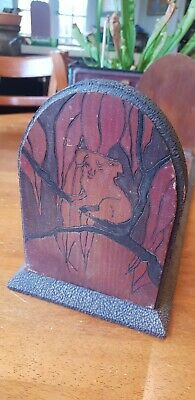 Vintage Australiana Poker Work Koala Book Ends Great Depression (1933)