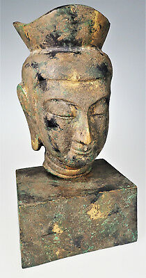 Buddha Head on Stand Cast Iron Metal Meditation Enlightenment Peace Sculpture