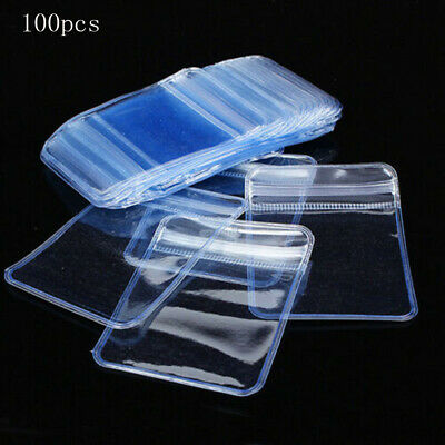 100x Individual Badge Holders Clear Plastic Wallets Envelopes Zip Seal #M2R