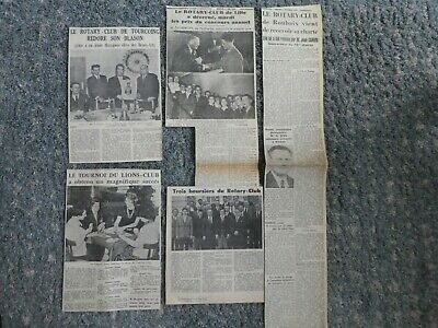 Rotary Club Lot Articles Originaux Annees 50  Nord De France Tourcoing Lille