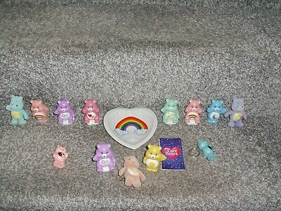 TCFC Care Bears bundle of figures Vintage Heart Tray Keyrings Fur Covered Figure