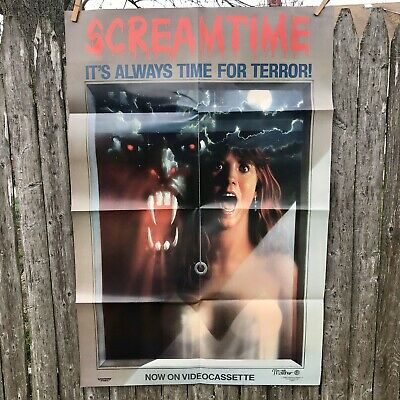 Vintage 1980s Horror Movie Poster Scream Time B Movie Obscure Lightning VHS
