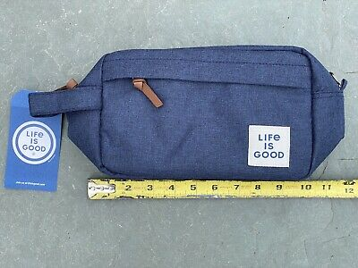 Toiletry Travel Bag 'Life Is Good' Brand New With Tags Blue Denim Look Dopp Kit