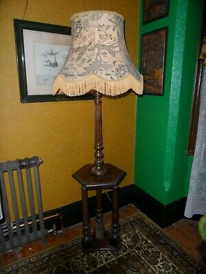 Antique Edwardian Standard Lamp With Shade And Integrated Hexagonal Table.