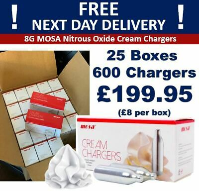 Whipped Cream Chargers Nitrous Oxide MOSA N2O NOZ NOS 8g Canisters Next Day