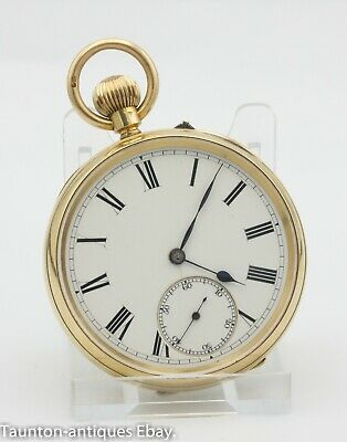 Antique 18ct solid gold open face pocket watch 1895 51 mm case George Edwards