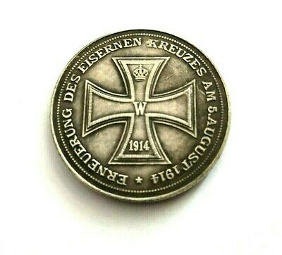 German Medal Updated Iron Cross 1914 / Germany / Ww I / Exonumia Silvered Token