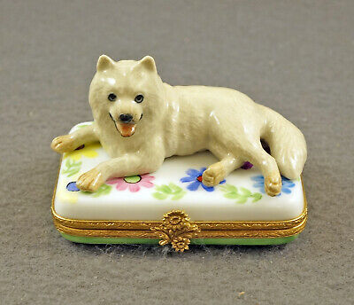 New French Limoges Trinket Box Cute Samoyed Dog Puppy On Amazing Flowers