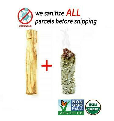 1 Palo Santo Wood & 1 White Sage Smudge Stick MADE IN USA