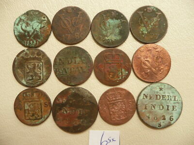 Lot of 12 Netherlands East Indies Duit Coins 1700s and 1800s - Lot 6