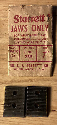"Vintage Starrett Jaws Pair For 7"" #235 For Nippers In Original Packaging"