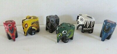 SMALL Vintage lot 6 WOODED hand Craved painted Elephants~India