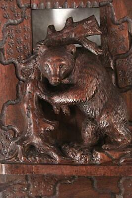 Antique Hand Carved Walnut Black Forest Bear Book Ends Rack