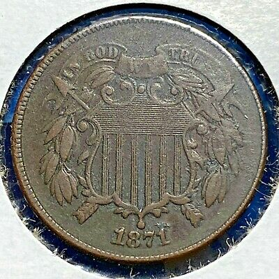 1871 2C Two Cent Piece, Large Motto (55524)