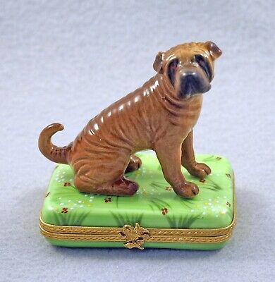 New French Limoges Trinket Box Cute Shar Pei Dog Puppy On Grass With Flowers