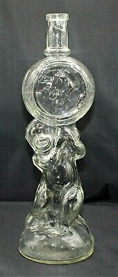 3972~Vtg Clear Glass Figural BABY HOLDING BOTTLE Heavy Bottle Made In ITALY**