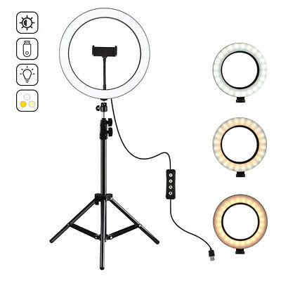 """10"""" LED Ring Light Tripod Stand Phone Holder For Live Stream Dimmable Lighting"""