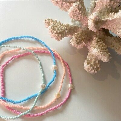 Adjustable coloured braided cord anklet with transparent beads JTY1104