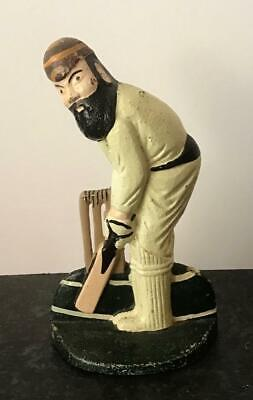 Interesting OLD CRICKET Player DOOR STOP of W C GRACE Painted Cast Iron