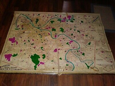 """Vintage Hearne Brothers - official polyconic map Pittsburgh Pa 70"""" pull down"""