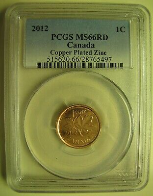 2012 PCGS MS66 1 cent RD Copper Plated Zinc (Red Non Magnetic) Canada one penny